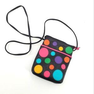 ili New York Leather Color Block Polka Dots Mini Bag